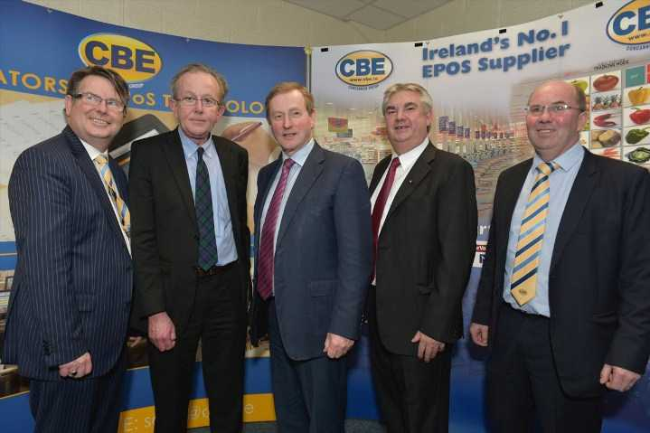 Taoiseach Enda Kenny with (from left) CBE's Seamus Murray;  Pat O'Grady, Enterprise Ireland;  Gerard Concannon and CBE's Sean Kenna (Pic: Joe Travers)